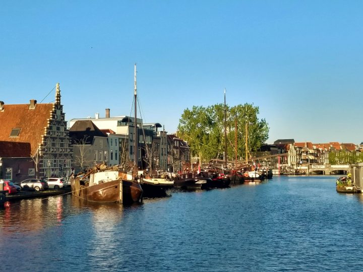 Old boats turned into houses in Leiden