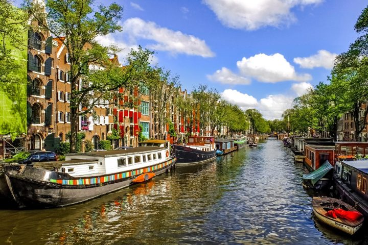 Houseboats or boathouses in Amsterdam