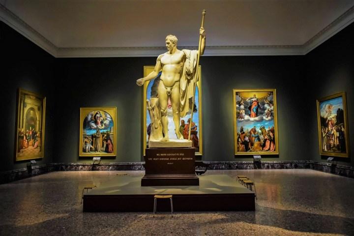 Paintings and sculptures in Pinacoteca di Brera in Milan, Italy