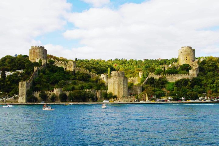 The Rumelihisarı Fortress seen from the Bosphorus - part of The Walls of Constantinople in Istanbul, Turkey