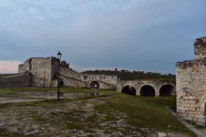 The mysterious castle of Berat at dawn