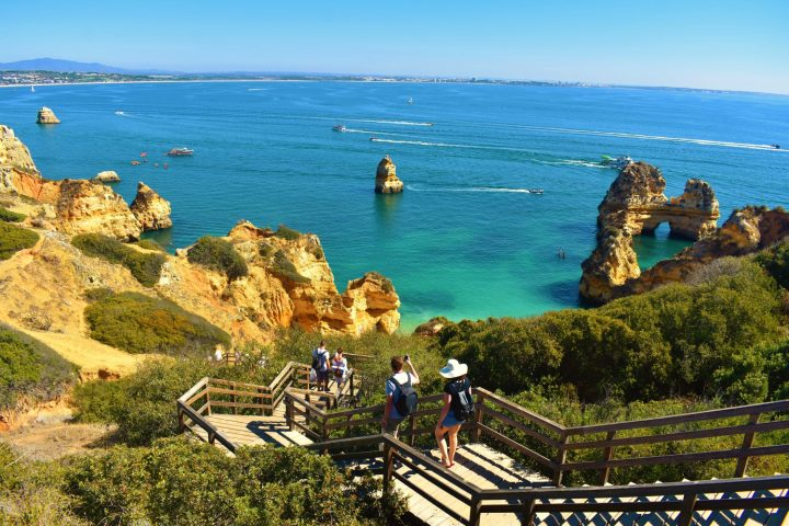 Spectacular stairs towards Praia do Camilo in Lagos - one of the best beaches in Algarve, Portugal