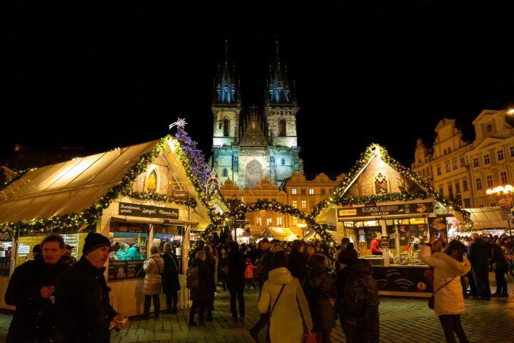 Splendid setting of Christmas market in Staroměstské náměstí in Prague, Czech Republic