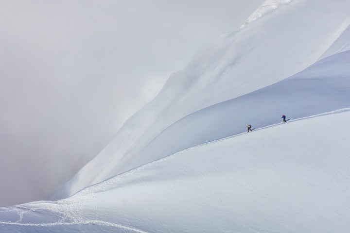Only for the eagles - climbers on the Mont Blanc massif in the French Alps, France