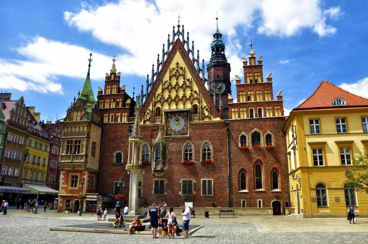 Gorgeous architecture of the old town hall in Wrocław, western Poland