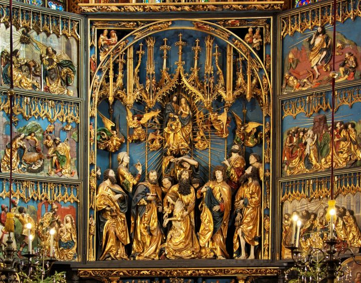 Priceless art: The largest Gothic altarpiece in the world by Veit Stoss in St Mary's Church in Krakow; Poland.