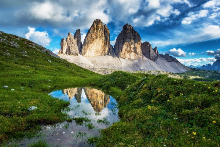 Unique landscape of Dolomiti -Tre Cime di Lavaredo (2999 m), northern Italy