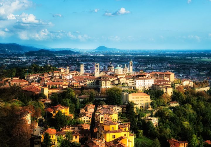 Splendid Bergamo Alta at the foothills of the Alps, close to Milan, Italy