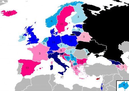 Différentiel des votes entre l'Ukraine (en bleu) et la Russie (en rouge)