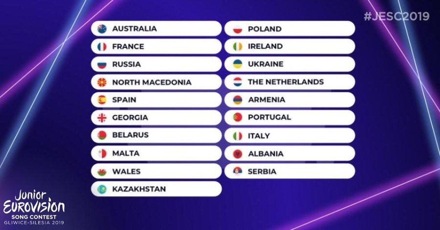 Eurovision Junior 2019 : ordres de passage et tableau de votes