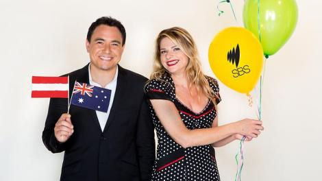Australia's commentary team, Julia Zemiro and Sam Pang