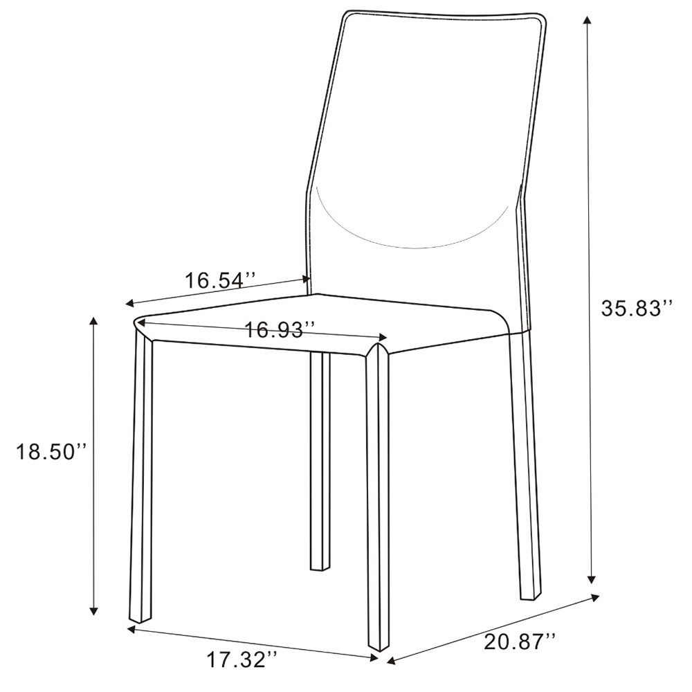 Dining Chair Dimensions Rhodes Side Chair Set Of 4