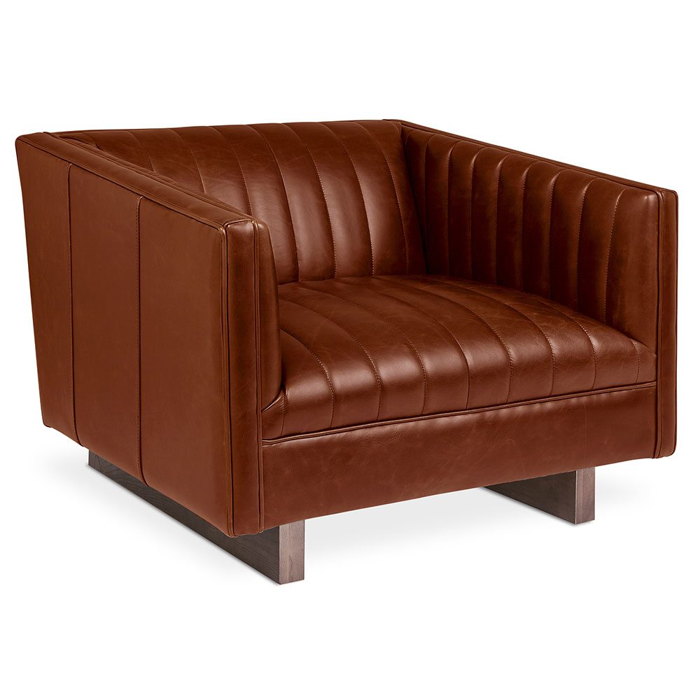 Brown Leather Chairs Wallace Chair Saddle Brown Leather