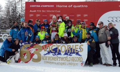 Lindsey Vonn of the Usa get a 63th victory on the Ski World cup tour during the Audi FIS Alpine Ski World Cup Women's Super-G on January 19, 2015 in Cortina d'Ampezzo, Italy