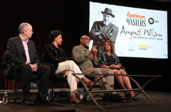 """(L-R) Series executive producer Michael Kantor, actress Phylicia Rashad, filmmaker Sam Pollard and executive producer Darryl Ford Williams speak onstage during the 'AMERICAN MASTERS """"August Wilson: The Ground on Which I Stand""""' panel discussion at the PBS Network portion of the Television Critics Association press tour at Langham Hotel on January 20, 2015 in Pasadena, California."""