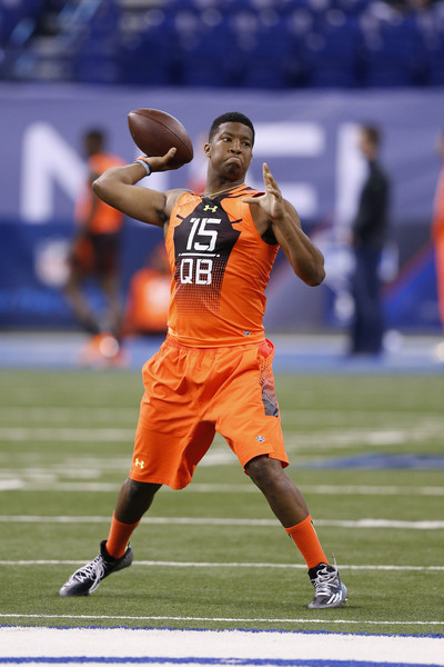Quarterback Jameis Winston of Florida State throws a pass during the 2015 NFL Scouting Combine at Lucas Oil Stadium on February 21, 2015 in Indianapolis, Indiana