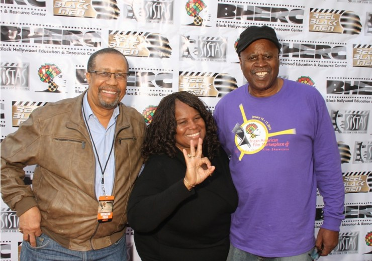 2016 honoree Ron Brewington, Sandra Evers Manly & John Forbes gearing up for an exciting BHERC 23rd Annual African American Film Marketplace and S. E. Manly Short Film Fest 2017 www.BHERC.org (Photo by Cazzi Burns courtesy of BHERC)