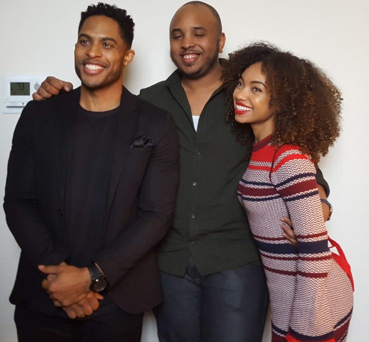 (L-R) Brandon P. Bell, Justin Simien, and Logan Browning at The Edition Hotel in NYC. (MMoore Photo)