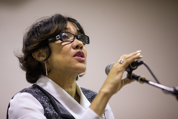 Flint Mayor Karen Weaver speaks to residents during a town hall on water, public safety and job opportunities on March 17, 2016 in Flint, Michigan.
