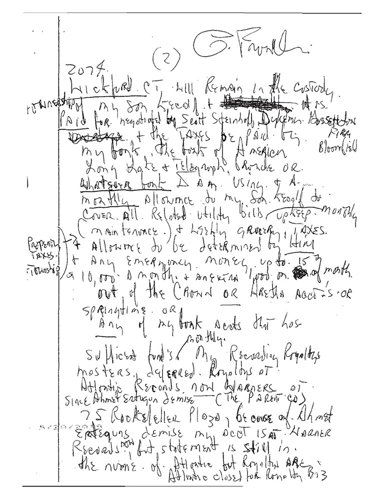 aretha franklin handwritten will