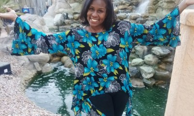 LaRita Shelby enjoys the waterfall at The Westin Mission Hills Resort in Coachella Valley, CA July 2019