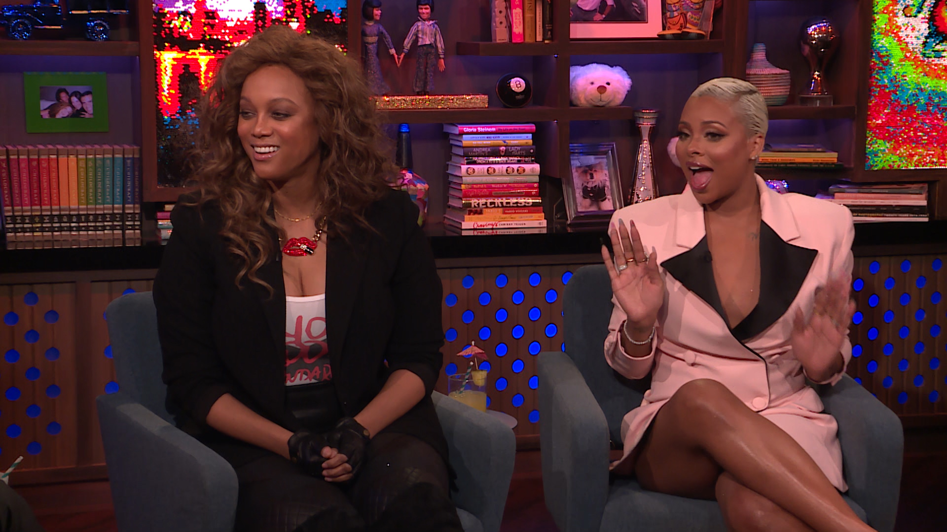Tyra Banks and 'ANTM' Champ Eva Marcille Reunited on 'WWHL' and Had a Smize-Off – Watch
