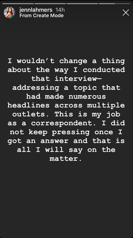 Jenn Lahmers also responded to the controversy on IG: