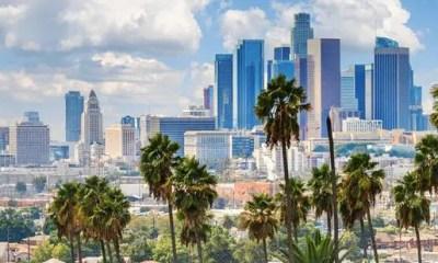 Los Angeles - LA skyline & palm trees1(Getty)