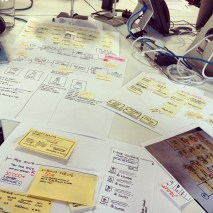 Hand-drawn, post-it covered wireframes.