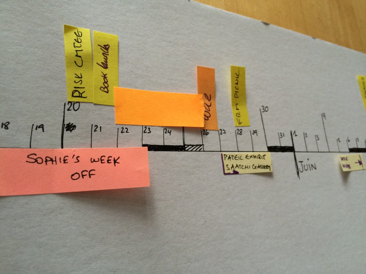 linear calendar for better planning (with post its)