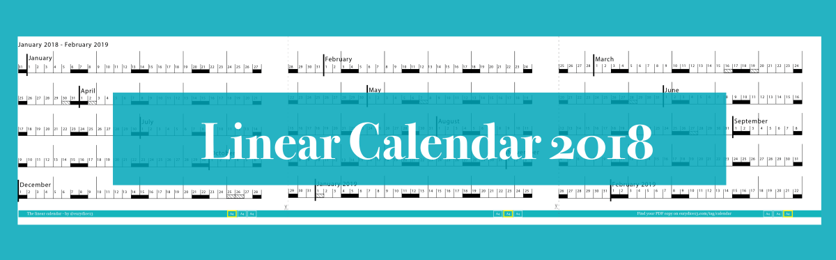 Linear Calendar Jan 2018 - Feb 2019