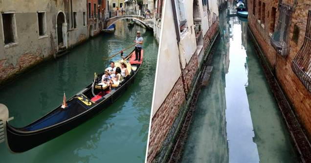 venice canal with clear water