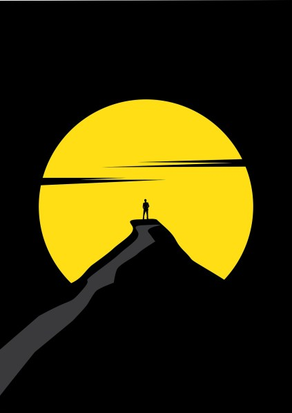 Yellow sun cartoon with black background and man standing on ledge in front.