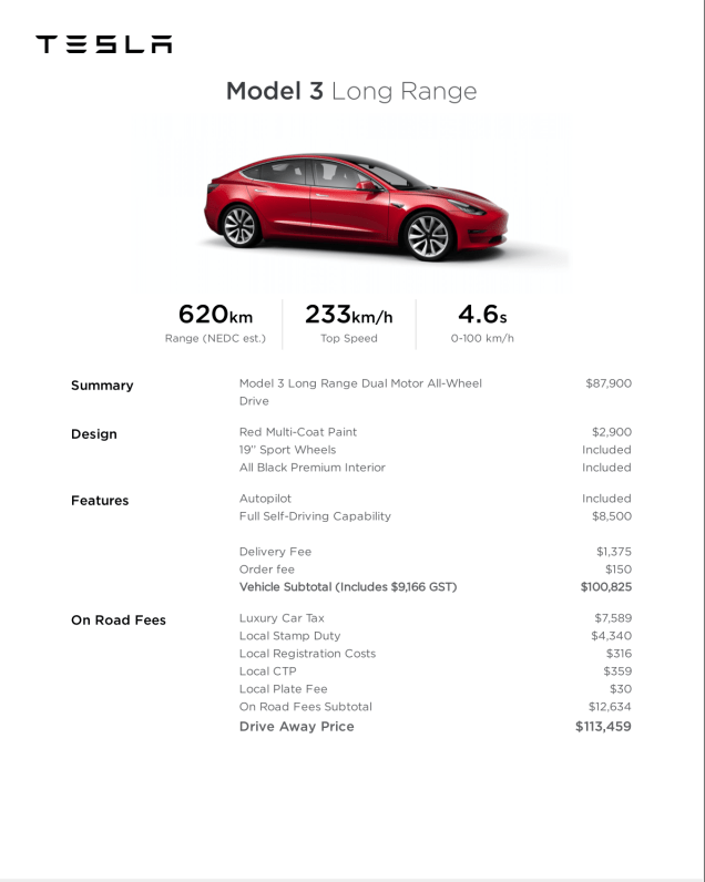 break down of price for Long range model 3