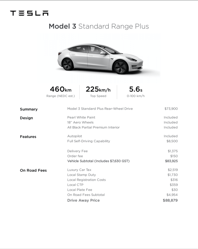 breakdown of price model 3 standard range plus
