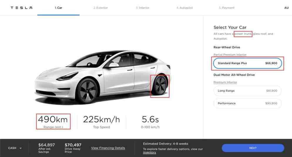 Model 3 Tesla .com standard range