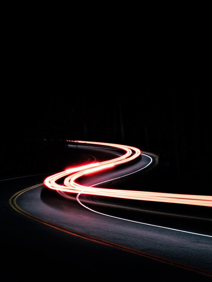 Lights at night on road