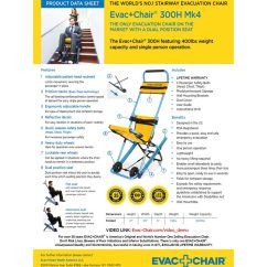 Evacuation Chairs Model 300h Mk4 Leather Parsons Evac Chair Lightweight Emergency Stair Data Sheet