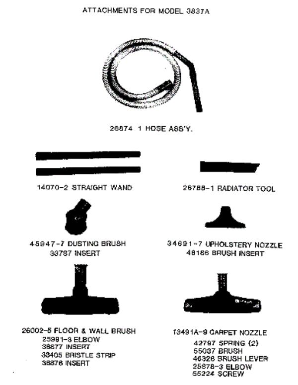 Eureka 3837A Rally Vacuum Factory Parts Diagrams and