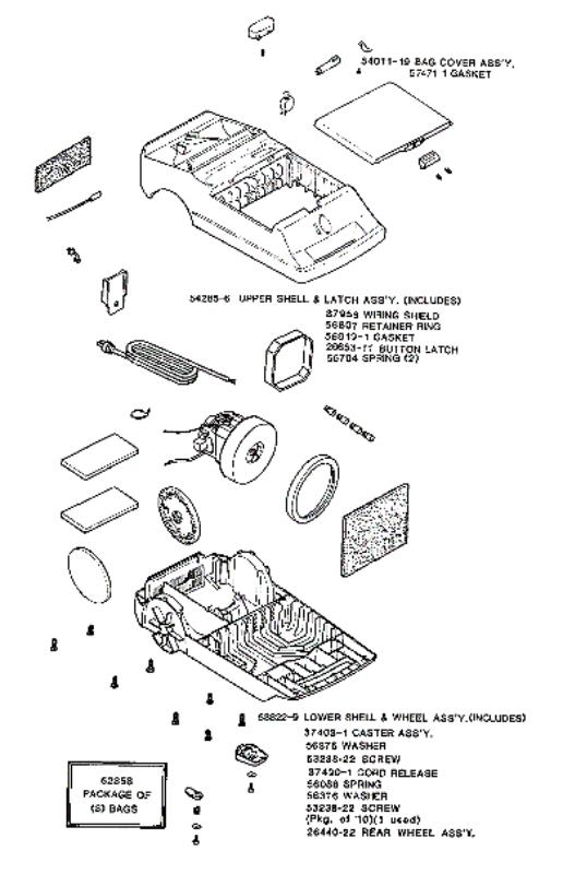 Eureka 3848A Rally Vacuum Factory Parts Diagrams and