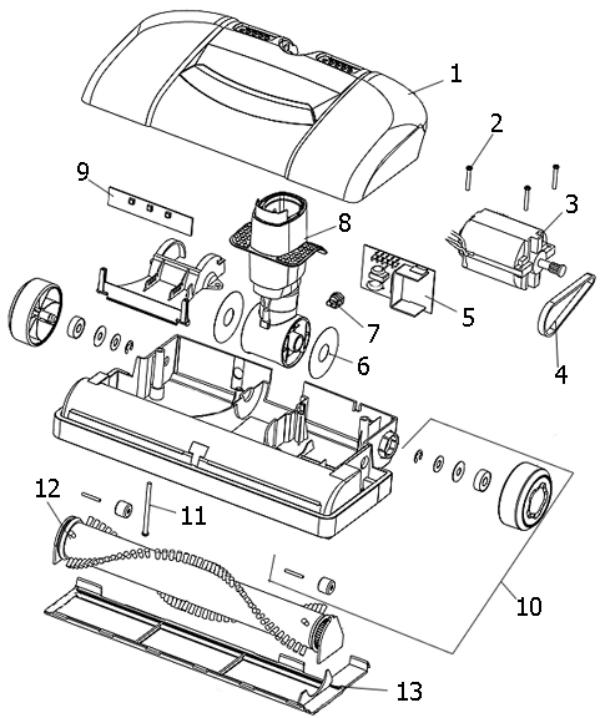Electrolux JetMaxx EL4040A Power Head Diagram