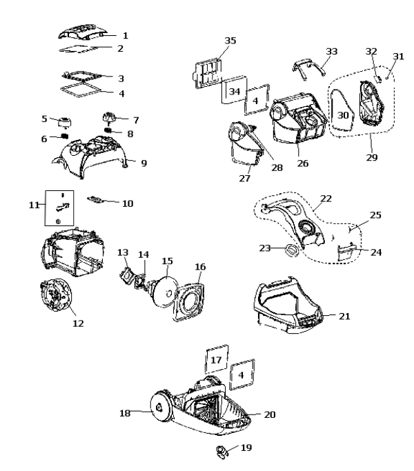 Electrolux Versatility Canister Parts, EL4050A