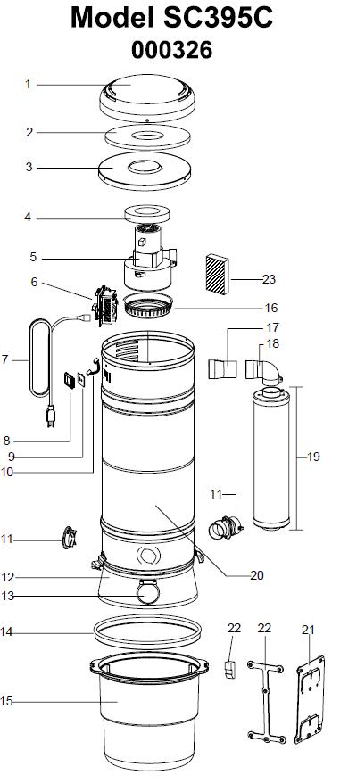 Beam Serenity QS Central Vacuum Parts SC395C