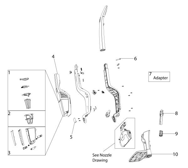 Electrolux EL2022A Stick Vacuum Parts List and Diagram