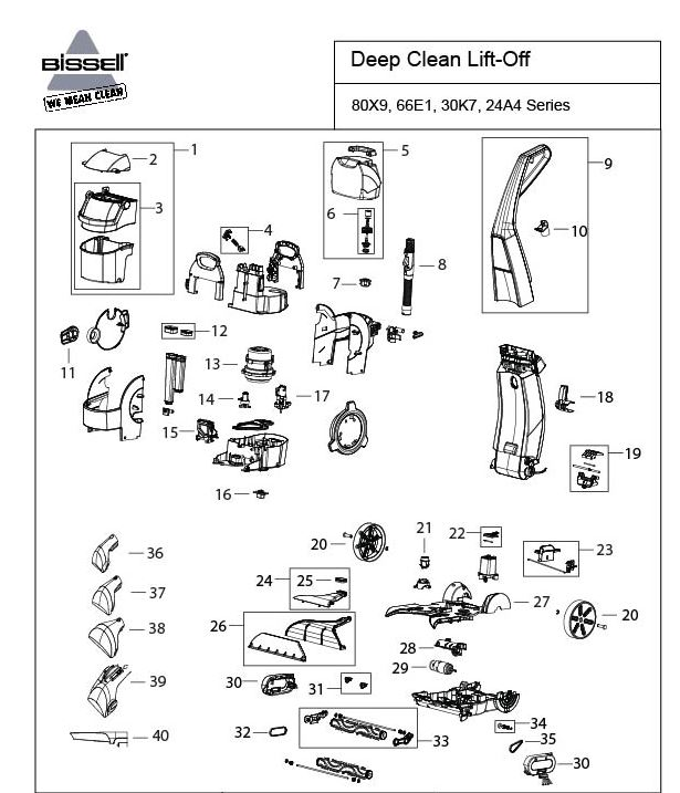 Bissell 24A4 Parts List and Parts Diagram
