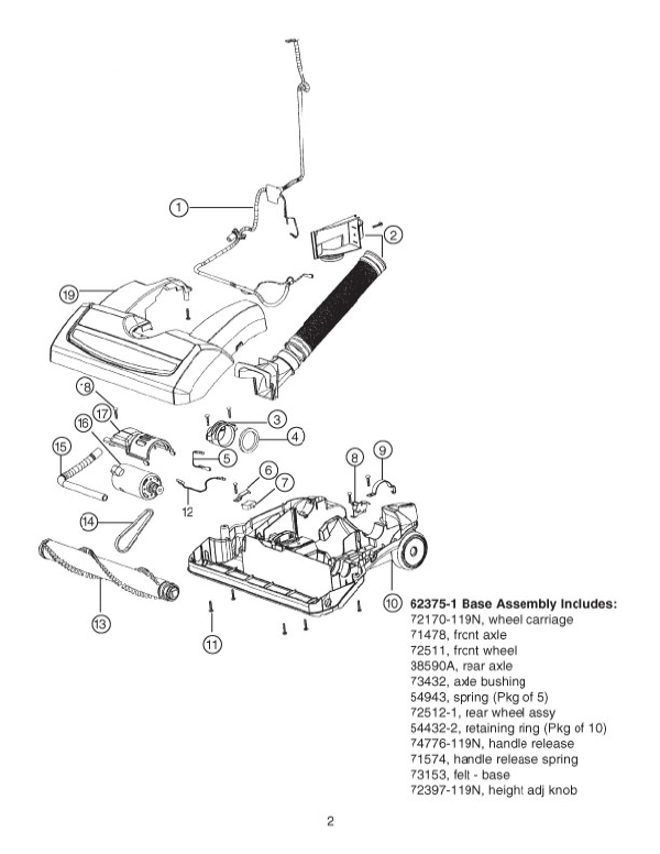 Eureka Series 5900 Factory Parts Diagrams and Schematics
