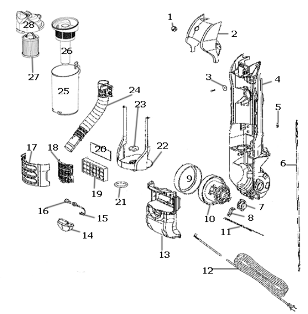 Eureka Series 3200 Factory Parts Diagrams and Schematics