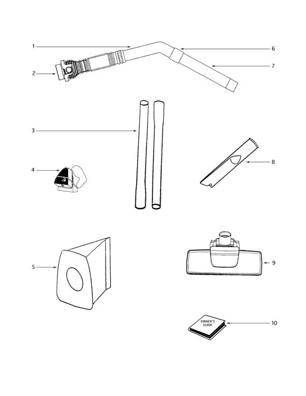 Eureka 3672B-1 Mighty Mite Vacuum Factory Parts Diagrams