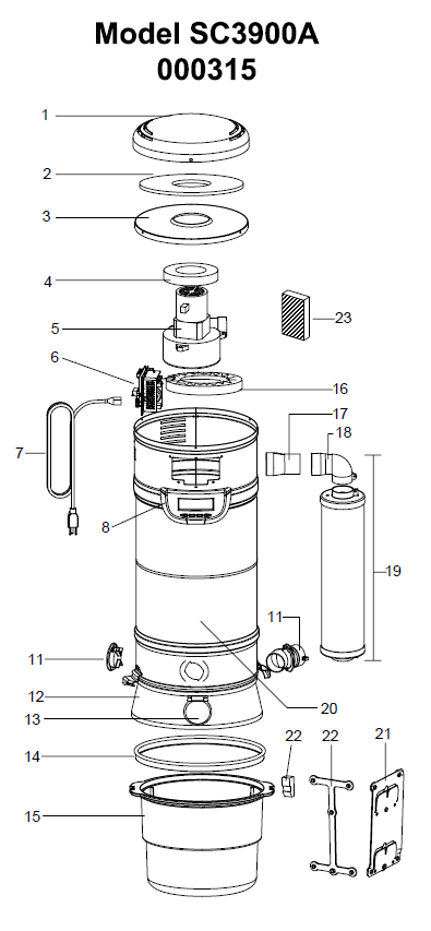 Beam SC3900A Serenity IQS Central Vacuum Parts
