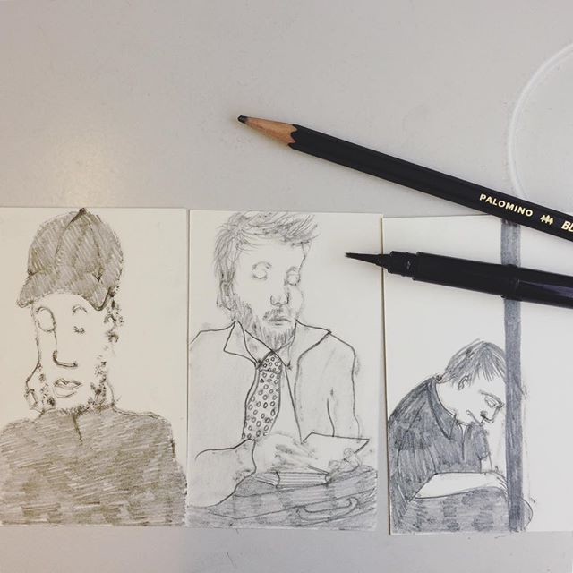 Day 7 / 100. Drawing from observation in the underground in London. The good thing is people usually sit very still. The lady sitting opposite me and in between the two man I drew on the left, did look at me suspiciously however. #100daychallenge #100dayproject #drawingeveryday #palominoblackwingpencil #pentelbrushpen #londonunderground #peoplewatching